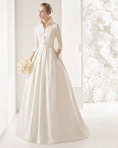 Vestido de noiva de brocado de seda. Coleção 2017 Rosa Clará