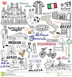 milan-italy-sketch-elements-hand-drawn-set-duomo-cathedral-flag-map-shoe-fashion-items-pizza-shopping-street-transpor-58473575.jpg (1300×1390)