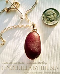 Sea Glass Genuine Sea Glass HUGE. Red. And Real. Ruby Red English Sea Glass - Handmade Necklace by CinderellaByTheSea on Etsy Handmade Necklaces, Handmade Gifts, Glass Photo, Sea Glass Jewelry, Timeless Beauty, Ruby Red, Precious Metals, Cinderella, Addiction