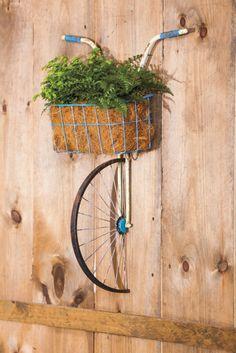 Evergreen Enterprises, Inc Cesta Dianteira Bicicleta De Metal E plantador Decoração De Parede