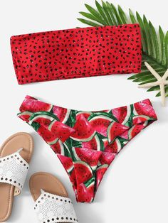 Red Bandeau Bikini Set Swimwear Women High Leg Bikinis 2020 Mujer Swimsuit Watermelon print Biquini Swimming suit for Women Cute Bikinis, Cute Swimsuits, Women Swimsuits, Bikini Swimwear, Romwe Swimwear, Summer Bathing Suits, Girls Bathing Suits, Girls Swimming Suits, Women's Swimwear