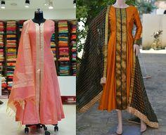 21 Kurti from old saree designs Chiffon Saree, Saree Gown, Sari Dress, Anarkali Dress, Half Saree Designs, Kurti Neck Designs, Kurta Designs Women, Kurti Designs Party Wear, Blouse Designs
