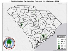 Earthquakes recorded in South Carolina, February 2013-2014, more info: www.scemd.org