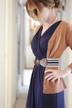 Navy faux wrap dress and camel cardigan  (Navy is iffy on me, but the camel cardigan would help.) belted and faux wrap with pearls are perfect for me.