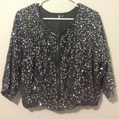 Gray Sequin jacket Adorable gray sequin quarter sleeve jacket by Sparkle & Fade from Urban Outfitters in size small. Missing a few sequins on the back, but very unnoticeable, other than that, great condition, & perfect for holidays. Trying to pay of student loans😊 Urban Outfitters Jackets & Coats