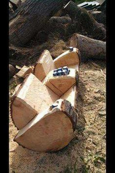 Log seat and drink holder