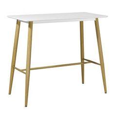 Mesa alta rectangular, modelo Beta. Mesa para taburetes, inspirada en diseño nórdico. Armazón metálico con acabado imitación madera y tapa de madera lacada en blanco o negro, formato rectangular.