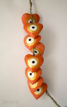 Garland of 8 wooden orange gold handmade hearts mati-evil eye,heart diameter 8cm, length of garland 50cm