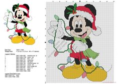 Mickey Mouse with Christmas lights free cross stitch pattern 95x117