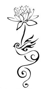 Lotus flower #2 with bird stem tattoo