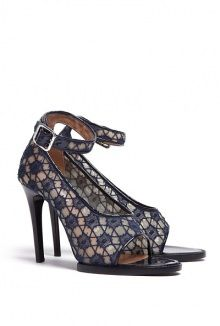 Navy Lace And Patent Peeptoe High Heels by Carven