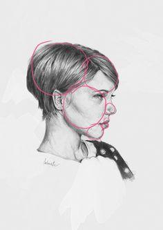 simple shapes on portrait sketch of Lea Seydoux