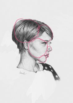 simple shapes on portrait sketch of Lea Seydoux. Useful reminders about shape line and distance