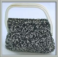 Fab 60s MOD Black White & Shades of Grey ALUMESH Lucite Handle Purse