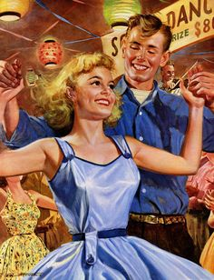 startwithsunset:  Square Dancing - Peter Stevens (1920 - 2001)  Which one's the square?