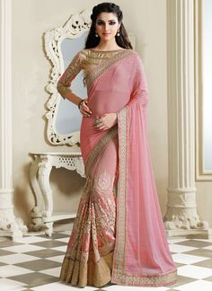 Pink Net And Chiffon Half N Half Saree