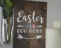 Custom rustic wooden signs by SerendipityByElisa Create Yourself, Finding Yourself, Egg Hunt, Serendipity, Wooden Signs, Easter Eggs, Etsy Seller, Rustic, Handmade Gifts