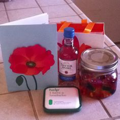 An 'adult' goody bag...  Drunken gummie bears, a mini wine bottle and of course pain reliever!  Lol