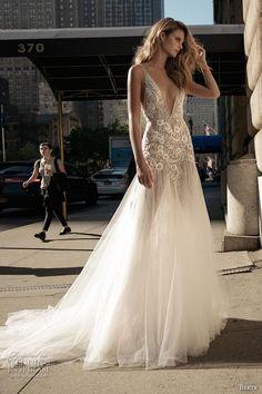 Berta Fall 2017 Bridal Sleeveless Thing Strap Deep V Neckline Heavily Embellished Bodice Sexy Romantic Tulle Neck Wedding DressWeding DressesBackless