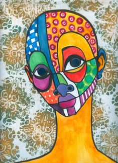Brianna McCarthy, Look In VI watercolour, ink, lino print and mirrors. Abstract Face Art, Abstract Portrait, African American Artist, African Art, Color Art Lessons, Simple Acrylic Paintings, Masks Art, Cardboard Art, Art Portfolio