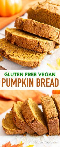 One Bowl Gluten Free Vegan Pumpkin Bread Recipe (GF, Dairy-Free) – Beaming Baker Gluten Free Vegan Pumpkin Bread (GF): this moist, classic gluten free pumpkin bread recipe is flourless, healthy! The best dairy free pumpkin bread—made with oat flour! Gluten Free Vegan Pumpkin Bread, Healthy Pumpkin Bread, Sans Gluten Vegan, Vegan Pumpkin Muffin, Vegan Muffins Gluten Free, Gluten Free Dairy Free Bread Recipe, Gluten Free Dairy Free Desserts, Wheat Free Bread Recipes, Healthy Gluten Free Bread