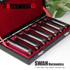 56.68$  Buy now - http://aliild.worldwells.pw/go.php?t=32283941714 - Harmonica SWAN Bluesband 7 Piece Blues Harp Diatonic Harmonica  sell by Set  Case + wipes professional harmonica