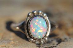 Vintage Signed Southwestern Tribal Sterling Silver Bright Opal Ring | eBay