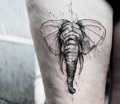 Elephant tattoo by Kamil Mokot