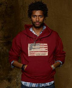 Denim & Supply Ralph Lauren Hoodie, Shawl Collar Distressed Flag Hoodie - Denim & Supply Tops - Men - Macy's