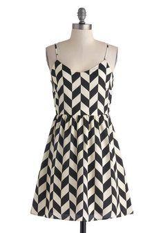 Haute Like a Lamb Dress - Mid-length, Black, White, Chevron, Party, A-line, Spaghetti Straps