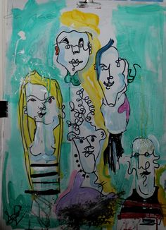 abstract one line faces painting acrylics and monta markers