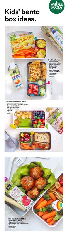 Can't settle on one thing for lunch? There's a solution for that... Have all the things! Get the scoop on 5 simple bento box combinations that'll take lunchtime to the next level. Bento Recipes, Lunch Box Recipes, Lunch Snacks, Baby Food Recipes, Whole Food Recipes, Box Lunches, School Lunches, Toddler Meals, Kids Meals