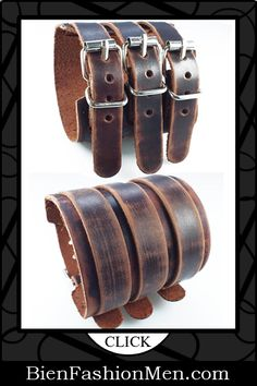 Mens Leather Cuffs | Mens Bracelets | Mens Jewelry | Mens Accessories | Bracelets on Men | Mens Jewelery | Shop Now ♦ Fashionable Punk Rock Man Hemp Cuff Wrist Tribal Surfer Multi Wrap Mens Rivets Brown Genuine Leather Bracelet $22.99