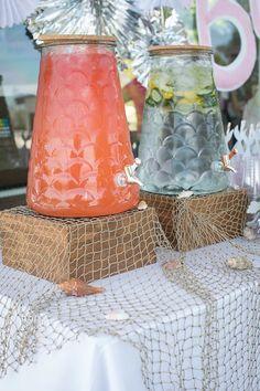 Beverage dispensers from a Modern Monochromatic Mermaid Party via Kara's Party Ideas KarasPartyIdeas.com