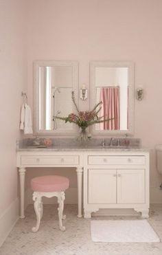Makeup vanity and soft pink color scheme