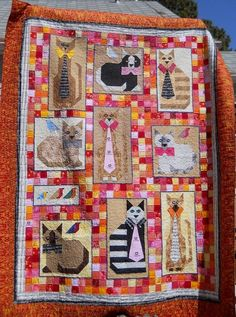 """Jackie's Cats"" quilt by Judy Braten. Based on the ""Ties & Tails"" pattern by Judydidit. Posted at The Quilt Show"
