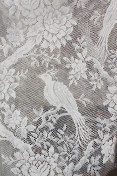 Vintage Lace Curtain Fabric Bird of Paradise Parrot Natural White 5 yards - # Bird Curtains, Lace Curtains, Curtain Fabric, Victorian Style Homes, Crazy Quilt Blocks, Vintage Curtains, Vintage Inspired Outfits, Fabric Birds, Little Girl Rooms