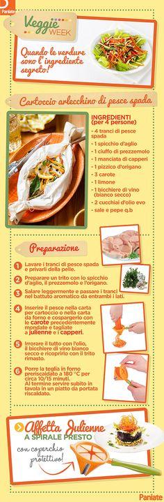 Cartoccio arlecchino di pesce spada con verdure julienne a spirale! Un piatto sano, gustoso e veloce da preparare!