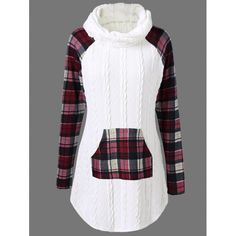 Plaid Cable Knit Tunic Sweater, WHITE, XL in Sweaters & Cardigans | DressLily.com
