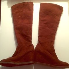 Brown vegan suede tall wedge boots. Unknown brand. Stretchy pull-on type fabric. I wear 9.5-10. Shoes
