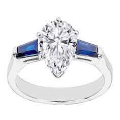 Pear Diamond Engagement Ring Setting Blue Sapphires Baguettes 0.25 tcw. In 14K White Gold