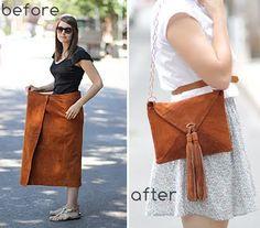 DIY- suede skirt to envelope purse. With tutorial. http://ticktockvintage.blogspot.com/2011/07/diy-suede-skirt-to-envelope-purse.html