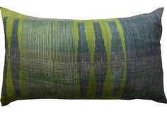 Raw Silk Ikat King Pillow, Chartreuse