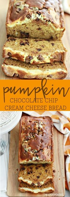 Pumpkin Chocolate Chip Cream Cheese Bread recipe is perfect for Fall or anytime. This recipe for Pumpkin Chocolate Chip Cream Cheese Bread makes 2 loaves. Weight Watcher Desserts, Pumpkin Recipes, Fall Recipes, Holiday Recipes, Summer Recipes, Köstliche Desserts, Dessert Recipes, Dessert Bread, Bread Cake