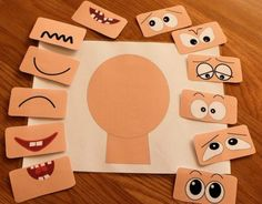 Make a face activities - ELSA Support Emotions for children : cambiar de tamaño 1 This Make a face resources has 12 different sets of eyes and mouths and a set of emotions vocabulary flash cards. Help children to learn about emotions. Emotions Activities, Infant Activities, Preschool Activities, Emotions Preschool, Teaching Emotions, Children Activities, Group Activities, Kindergarten Montessori, Body Preschool