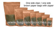 One Side Clear / One Side #BrownPaperBags With #Zipper