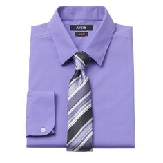 Men's Apt. 9® Slim-Fit Dress Shirt & Tie Set, Size: 2X-36/37, Brt Purple
