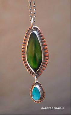 Mixed Metal Greenstone and Turquoise Necklace by CateYoderJewelry, $95.00