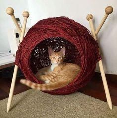 The Bed Your Kitty-Cat Dreams Of – It's a Ball of Yarn Cat Cave! Get the Tutorial To Make One … - Katzenmöbel - Cats Niche Chat, Cat Cave, Cat Scratching Post, Cat Room, Pet Furniture, Furniture Companies, Luxury Furniture, Cat Accessories, Animal Projects