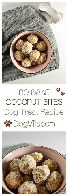 Healthy Dog Treats Ready for another delicious no-bake hypoallergenic dog treat recipe? I know I… - Ready for another delicious no-bake hypoallergenic dog treat recipe? These coconut treats aren't just oven-free, they're good for Fido's skin too! Dog Biscuit Recipes, Dog Treat Recipes, Dog Food Recipes, Recipe Treats, Food Tips, Homemade Dog Cookies, Homemade Dog Food, Diy Dog Treats, Healthy Dog Treats